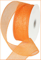 "Metallic Orange w/ Orange Foil Deco Mesh Ribbon - 2.5"" X 25Yds"