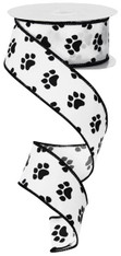 "Paw Print Ribbon: White/Black - Satin Wired - 1.5"" X 10Yds"