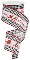"Alabama Football Crimson White and Houndstooth Ribbon - 2.5"" x 10Yds"