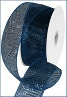 "Metallic Navy Blue w/ Royal Blue Foil Deco Mesh - 2.5"" X 25Yds"