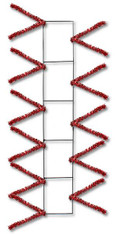 "22"" Wire Work Pencil Rail Form: Metallic Red"