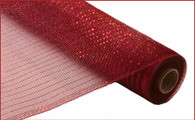 "Deco Mesh - Metallic - Burgundy w/ Red Foil - 21"" X 10Yd (RE100161)"