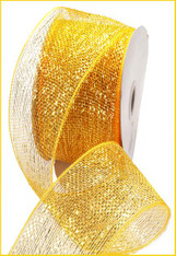 "Bright Gold w/ Gold Foil Deco Mesh - 2.5"" X 25Yds"