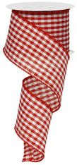 "Red and White Gingham Check Ribbon - 2.5"" X 10Yds"