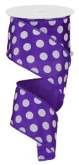 """Purple and White Polka Dot Satin Ribbon Wired - 2.5"""" x 10Yds"""
