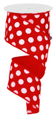 "Red and White Polka Dot Satin Ribbon Wired - 2.5"" x 10Yds"
