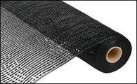 "21"" Deco Poly Mesh: Wide Metallic Foil Black"