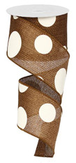 "2.5"" x 10yd Faux Burlap Giant Dot Ribbon: Brown/Ivory"