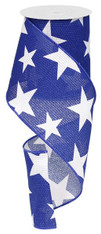 "4"" X 10Yds Faux Burlap Star Ribbon: Royal Blue/White"