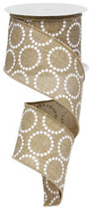 "2.5"" x 10yd Pearl Beads on Canvas Ribbon"