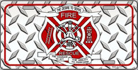 Fire Fighter Rescue Metal License Plate Sign