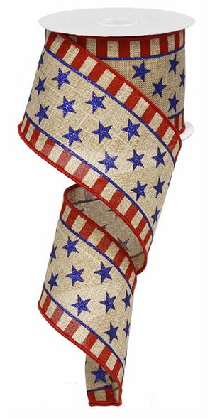 25quot stars and stripes border ribbon faux burlap 10yds
