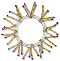 Mardi Gras Work Wreath with Ball Tinsel Ties (XX751572)