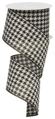 "2.5"" Black & White Houndstooth Ribbon - 10Yds"