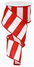 "2.5"" x 10yd Wide Stripe Ribbon: Red/White"