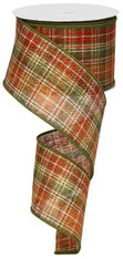 "Orange/Moss/Rust/Brown Fall Plaid Ribbon - 2.5"" X 10Yds"