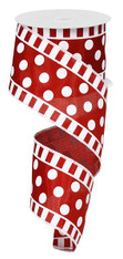 "Dot and Stripe Satin Ribbon: Crimson/White - 2.5"" x 10Yds"