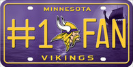 Minnesota Vikings #1 Fan NFL Embossed Metal License Plate