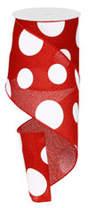 "4"" x 10yd Faux Burlap Giant Dot Ribbon: Red/White"