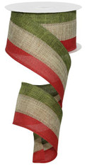"2.5"" Tri-Stripe Burlap Ribbon: Moss/Beige/Red - 10Yds"