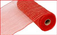 "10.5"" Poly Jute Mesh: Red/Natural"