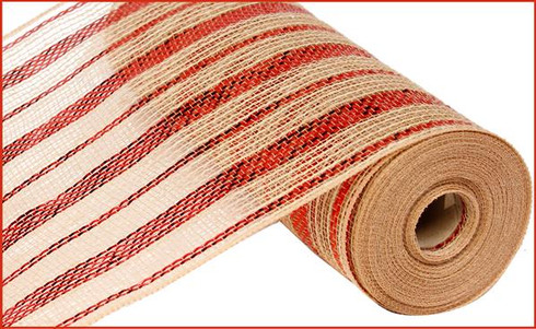10 5 Quot Poly Jute Mesh Natural Metallic Red Stripe Ry800824