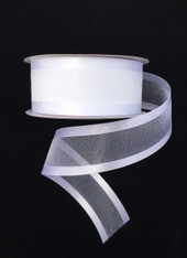 "1.5"" Sheer/Satin Ribbon: White (25yds)"