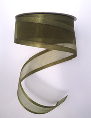 "1.5"" Sheer/Satin Ribbon: Olive Green (25yds)"