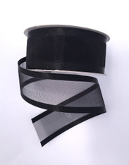 "1.5"" Sheer/Satin Ribbon: Black (25yds)"
