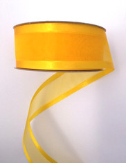 "1.5"" Sheer/Satin Ribbon: Sunflower Yellow (25yds)"