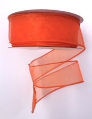 "1.5"" Sheer Wired Ribbon: Orange (25yds)"
