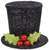 Glittered Holly Top Hat - 9""