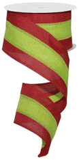 "2.5"" Tri-Stripe Ribbon: Red/Lime Green - 10Yds"