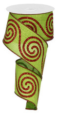 "Large Swirl Ribbon: Lime Green/Red - 2.5"" x 10yd"