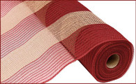 "21"" Poly Jute Mesh: Burgundy/Natural Wide Stripe"