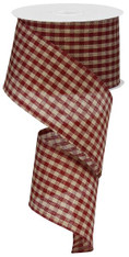 "Red and Tan Gingham Ribbon - 2.5"" X 10Yds"