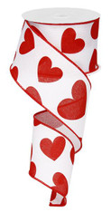 "2.5"" Large Heart Ribbon: White/Red - 10yds"