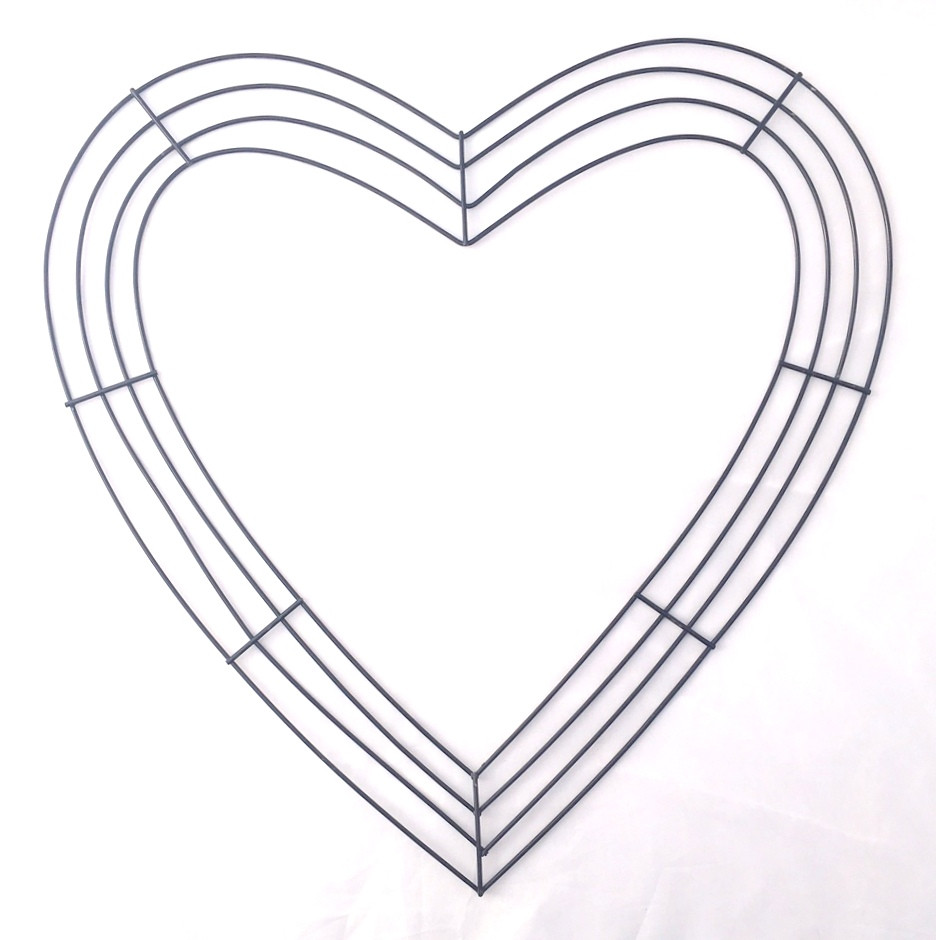 18 u0026quot  flat wire heart frame x 4 wires  black  md026002
