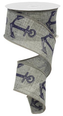 "2.5"" Bold Anchor Ribbon: Grey/Navy"