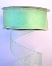 "1.5"" Sheer Wired Ribbon: Mint Green (25yds)"