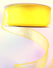 "1.5"" Sheer Wired Ribbon:Yellow Daffodil (25yds)"