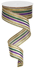 "Metallic Mardi Gras Thin Stripe Ribbon - 1.5"" x 10yd"