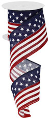 "2.5"" Stars and Stripes Flag Ribbon on Canvas - 10Yds"