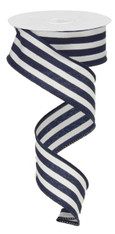 "1.5"" Vertical Striped Ribbon: Navy Blue/White-10Yds"