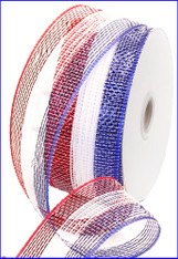 "Red White and Blue Striped Deco Mesh with Foil - 2.5"" X 25Yds"