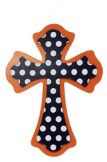 Polka Dot Cross: Navy/White/Orange