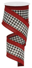 "2.5"" Satin Houndstooth Ribbon Wide Crimson Borders - 10Yds"