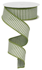 "1.5"" Horizontal Stripe Ribbon: Clover Green/White - 10Yds"