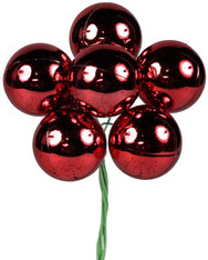 70mm Shiny Ball Ornament on Wire: Red (6)