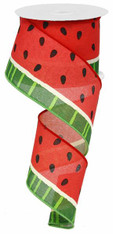 "2.5"" Canvas Watermelon Ribbon: Pink/Green/Cream - 10Yds"